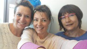 Dominique Pichot (à gauche avec les lunettes) avec deux collègues.
